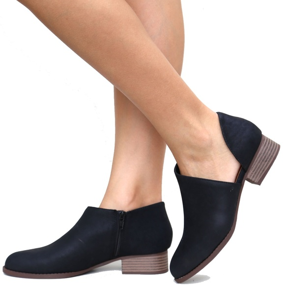 Black Side Cutout Loafers Ankle Booties